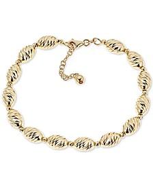 Textured Bead Link Bracelet in 14k Gold