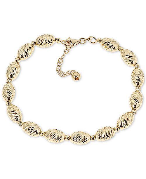 Macy's Textured Bead Link Bracelet in 14k Gold