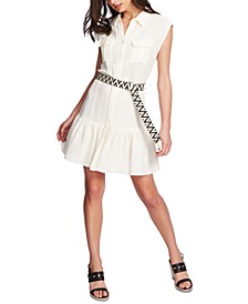 Sleeveless Belted Ruffle-Hem Dress