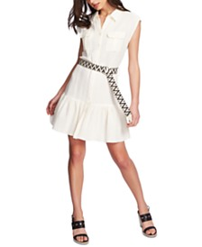 1.STATE Sleeveless Belted Ruffle-Hem Dress