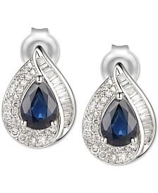 Sapphire (9/10 ct. t.w.) & Diamond (1/3 ct. t.w.) Stud Earrings in 14k White Gold
