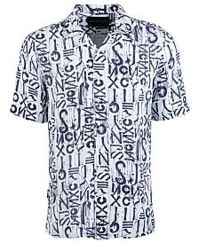 Sean John Men's Printed Woven Logo Graphic Short Sleeve Shirt