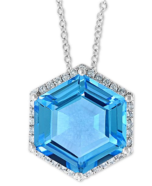 "EFFY Collection EFFY® Blue Topaz (5-3/8 ct. t.w.) & Diamond (1/3 ct. t.w.) 18"" Pendant Necklace in 14k White Gold"