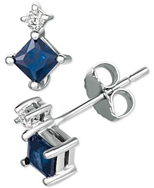 Sapphire (5/8 ct. t.w.) & Diamond Accent Stud Earrings in 14k White Gold(Available in Certified Ruby)