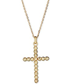 "Beaded Cross 18"" Pendant Necklace in 14k Gold"