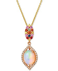 "Multi-Gemstone (1-3/8 ct. t.w.) & Vanilla Diamond (1/8 ct. t.w.) 20"" Pendant Necklace in 14k Rose Gold"