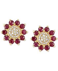 Certified Ruby (1  ct. t.w) & Diamond (1/10 ct. t.w.) Floral Stud Earrings in 14k Gold
