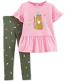 Toddler Girls 2-Pc. Caticorn-Print Peplum Top & Leggings Set