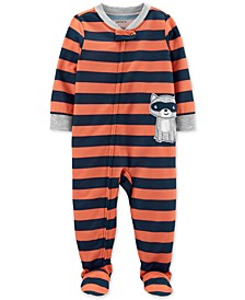 Toddler Boys 1-Pc. Striped Raccoon Footed Pajamas