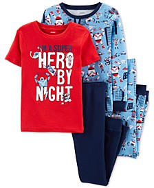 Little & Big Boys 4-Pc. Cotton Robot Pajama Set