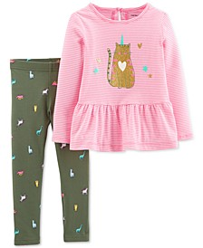 Baby Girls 2-Pc. Caticorn Striped Tunic & Printed Leggings Set