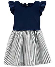 Toddler Girls Cotton Striped Bow-Back Dress