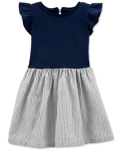 Carter's Toddler Girls Cotton Striped Bow-Back Dress