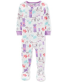 Carter's Baby Girls 1-Pc. Dog-Print Footed Pajamas