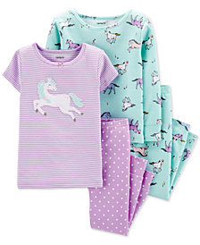 Carter's Baby Girls 4-Pc. Cotton Unicorn Pajama Set