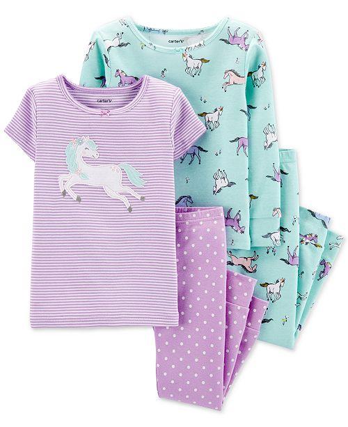 Carter's Baby Girls 4-Pc. Cotton Unicorn Pajama Set