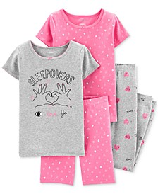 Little & Big Girls 4-Pc. Cotton Love Ya Hearts Pajama Set