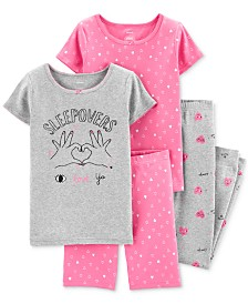 Carter's Little & Big Girls 4-Pc. Cotton Love Ya Hearts Pajama Set
