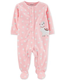 Baby Girls Dot-Print Llama Fleece Footed Coverall
