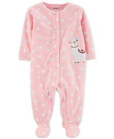 Baby Girls Dot-Print Llama Fleece Footed Coverall