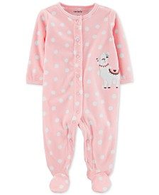 Carter's Baby Girls Dot-Print Llama Fleece Footed Coverall