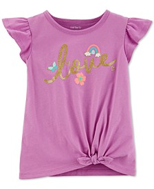 Baby Girls Love-Print Tie-Front Cotton T-Shirt