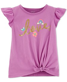 Carter's Baby Girls Love-Print Tie-Front Cotton T-Shirt