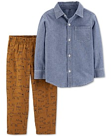 Carter's Toddler Boys 2-Pc. Cotton Chambray Button-Front Top & Dog-Print Pants Set