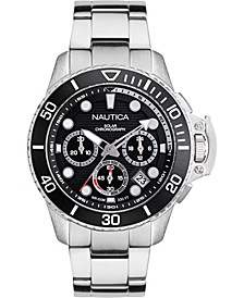 Men's NAPBSC906 Bayside Chrono Solar Silver/Black Stainless Steel Bracelet Watch