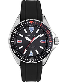 Men's NAPCPS903 Crandon Park Black/Silver Silicone Strap Watch