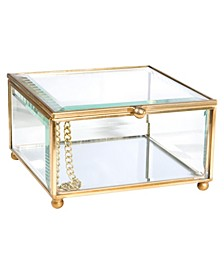 Vintage Mirrored Bottom Glass Keepsake Box