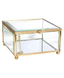 Home Details Vintage Mirrored Bottom Glass Keepsake Box