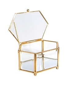 Home Details Vintage Mirrored Bottom Diamond Shape Glass Keepsake Box