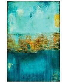 "'Castle Court' Frameless Free Floating Tempered Art Glass Wall Art - 48"" x 32''"