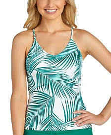 Raisins Juniors' Palm Bay Printed Macrame-Back Tankini Top