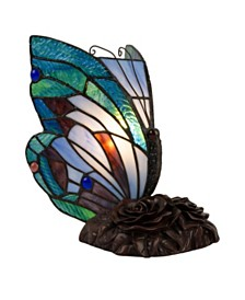 Lavish Home Tiffany Style Butterfly Lamp-Stained Glass Table Lamp