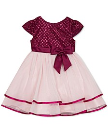 Little Girls Glitter Tiered Fit & Flare Dress