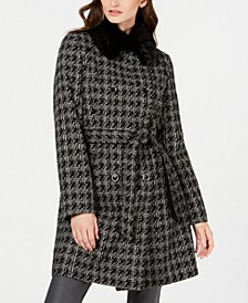 Houndstooth Belted Faux-Fur-Collar Coat