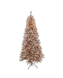 International 6.5 ft. Rose Gold Tinsel Artificial Christmas Tree with 400 UL- Listed Lights