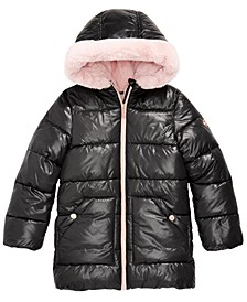 Toddler Girls Hooded Faux-Fur-Lined Puffer Coat