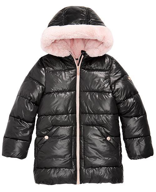 Michael Kors Big Girls Hooded Faux-Fur-Lined Puffer Coat