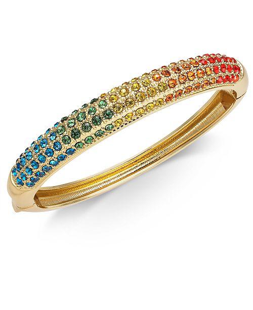 Charter Club Gold-Tone Rainbow Crystal Bangle Bracelet, Created for Macy's