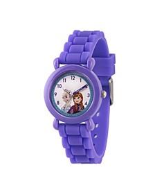 Girl's Disney Frozen Elsa And Anna Purple Plastic Time Teacher Strap Watch 32mm