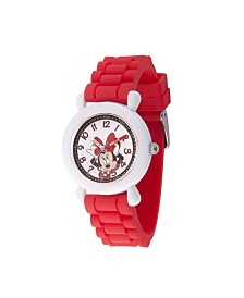 EwatchFactory Girl's Disney Minnie Mouse Red Plastic Time Teacher Strap Watch 32mm