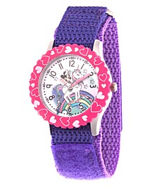 Girl's Disney Minnie Mouse Purple Stainless Steel Time Teacher Strap Watch 32mm