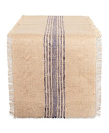 "French Middle Stripe Burlap Table Runner 14"" x 108"""