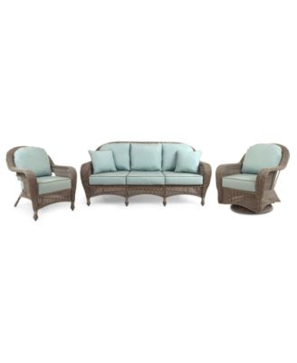 Sandy Cove Outdoor Wicker 3 Pc Seating Set 1 Sofa Club Chair And Swivel Glider Created For Macy S