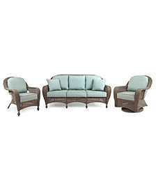 Sandy Cove Outdoor Wicker 3-Pc. Seating Set (1 Sofa, 1 Club Chair and 1 Swivel Glider), Created for Macy's