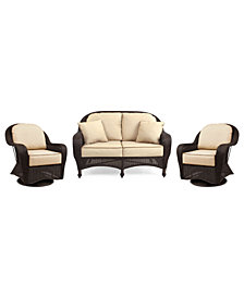 Monterey Outdoor Wicker 3-Pc. Seating Set with Sunbrella® Cushions  (1 Loveseat and 2 Swivel Gliders), Created for Macy's
