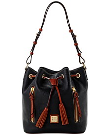 Pebble Leather Cooper Drawstring Bag